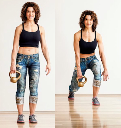 Photo: Woman demonstrates Kettlebell Backward Step/Pass exercise