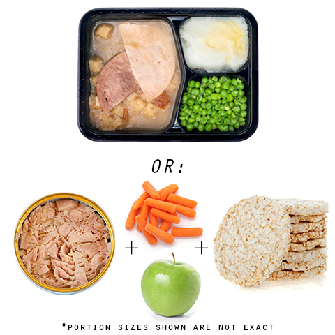 Photo: Microwaveable dinner, canned tuna, carrots, apple, brown rice cake