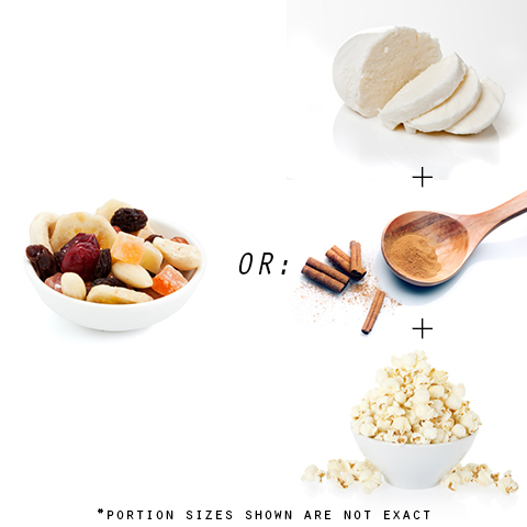 Photo: Trail mix, string cheese, cinnamon, popcorn