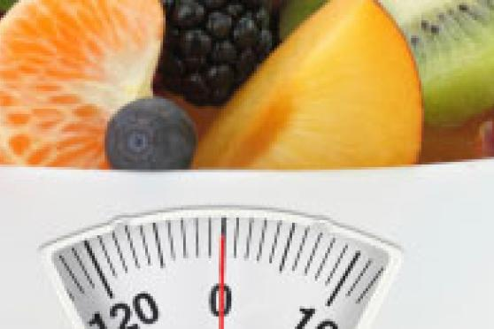 Photo: Fresh fruit in a scale