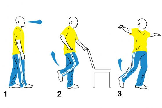 Illustration: Heel-to-Toe Walk, One-Legged Stand, Walk the Line