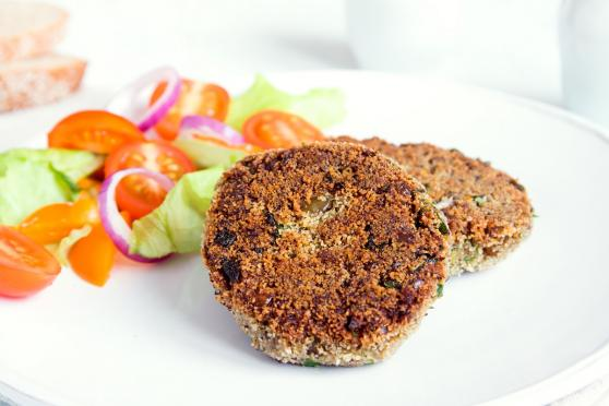Two lentil chickpea burger patties