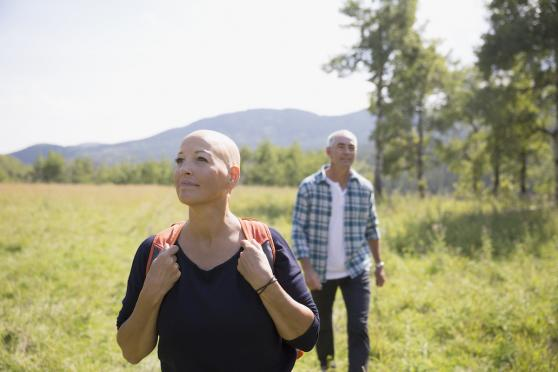 Photo: woman with cancer outside