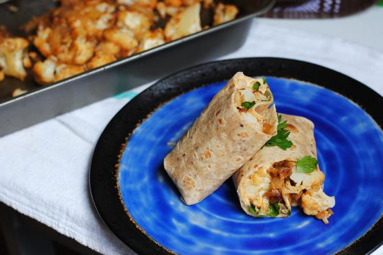 Roasted Eggplant and Cauliflower Wraps