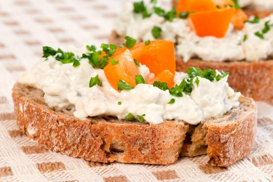 Photo: Blue Cheese Dressing on toasted bread.